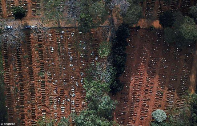 Nella foto: il Brasile ha superato la Russia come numero due al mondo per il coronavirus la scorsa notte quando ha registrato oltre 330.890 infezioni.  File di trame aperte al cimitero di Vila Formosa a San Paolo