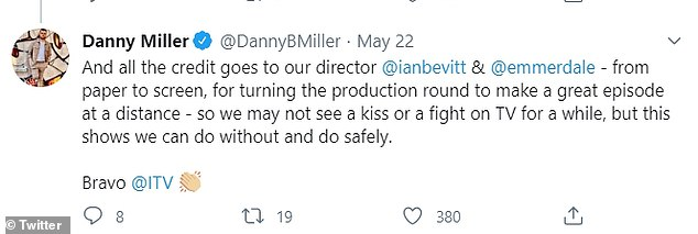 Excited: Emmerdale star Danny Miller teased what was going to happen in the soap opera after participating in the first day of filming lock episodes, and said it was an `` incredible '' story