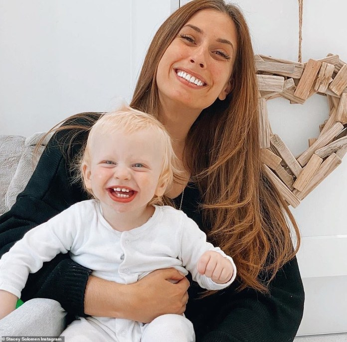 Sweet: Stacey Solomon celebrated her youngest son Rex's first birthday on Saturday alongside boyfriend Joe Swash and her two older sons Leighton, eight, and Zachary, 12