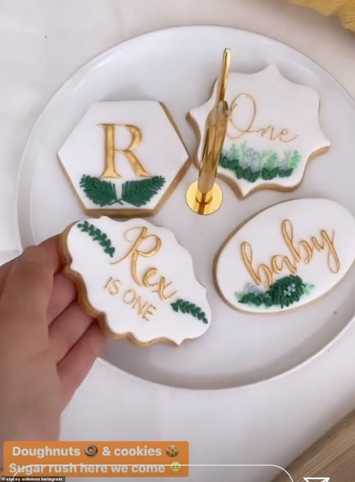 Beautiful: Stacey showed off the incredible iced biscuits that said 'Rex Is One' and 'Baby' in icing