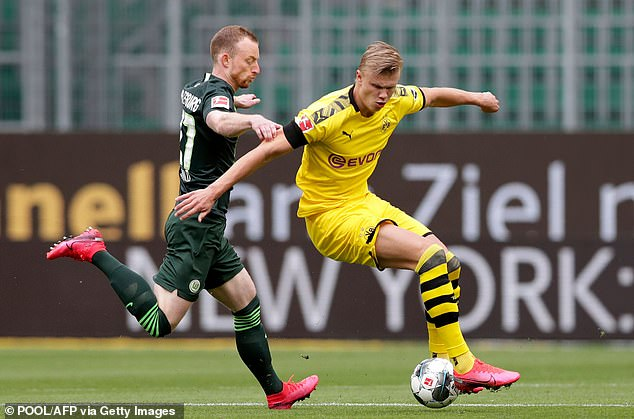 Haaland was calm for most of the first half, Wolfsburg having frustrated Dortmund from the start.