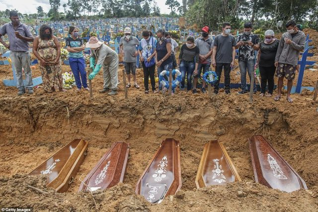 In Manaus, Brazil, mourning family members wearing face masks were seen looking at the graves of their relatives during a mass burial