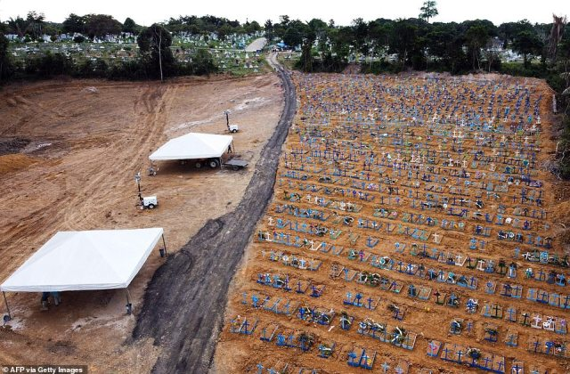 The huge scale of the mass graves can be seen in aerial shots taken overNossa Senhora Aparecida cemetery in Manaus