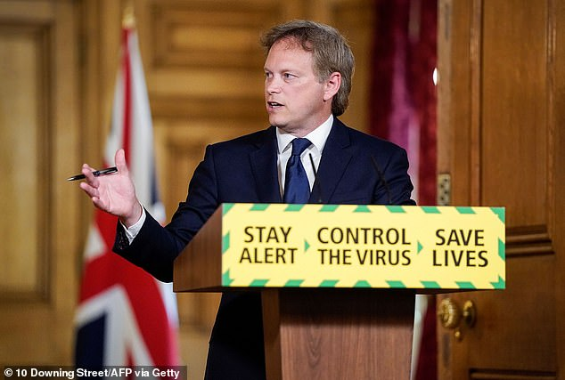 Grant Shapps, pictured today, said he wants to ensure there is enough space on public transport vehicles to allow for social distancing