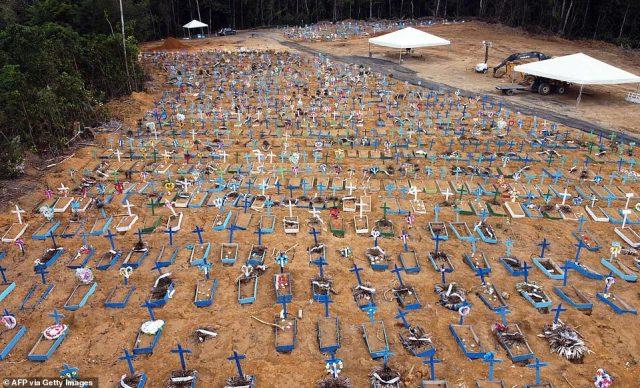 An aerial shot showed a part of the Nossa Senhora Aparecida cemetery where new graves have been dug in Manau, Brazil