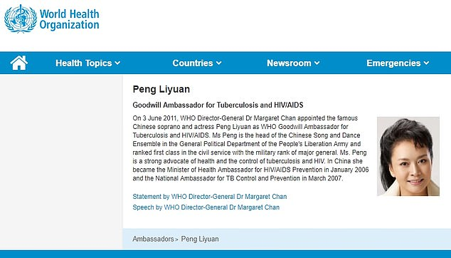 There was however no mention of the other reason why Peng is so well known - she is the wife of Xi Jinping, President of China and leader of his Communist Party. Pictured: Peng Liyuan's entry on the WHO website