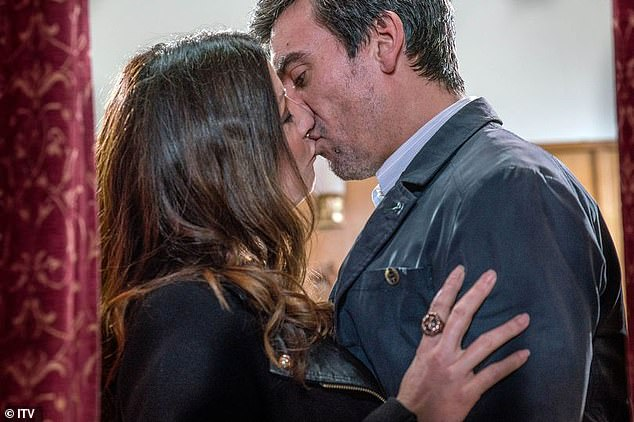 Lip-lockdown:Soap fans will have to kiss goodbye to lip-locking sessions in their favourite shows as a result of the coronavirus crisis and lockdown (pictured is a steamy scene from Coronation Street)