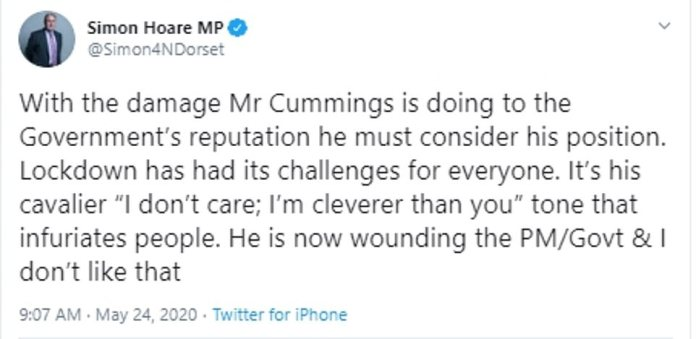 Simon Hoare, MP Tory North Dorset and Chairman of the Select Committee for Northern Ireland then added his voice to the call, tweeting: `` With the damage that Mr. Cummings is doing to the reputation of the government, he must take into account his position