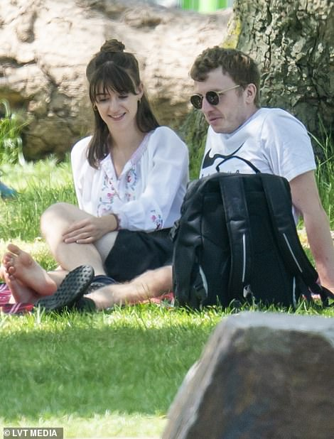 Happy: Daisy and Tom seemed lost in a love bubble as they spent the day together