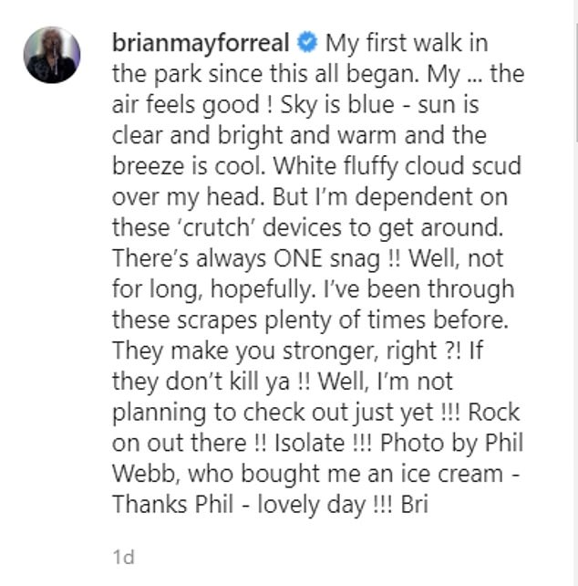 Injured: In a post on Instagram, he said: `` I rely on these `` crutch '' devices to get around ... hopefully not for long. ''