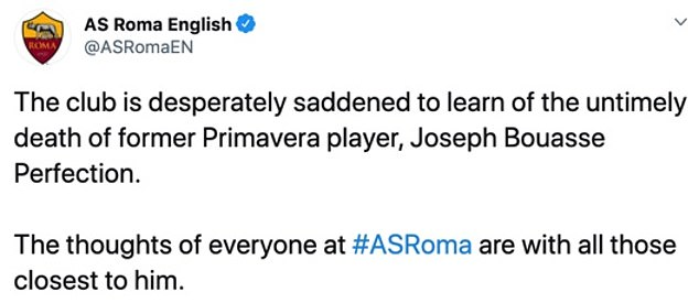 Ex-Roma and Cameroonian footballer, Joseph Bouasse who was trafficked into Italy at 16, has died at the age of 21 after suffering a heart attack