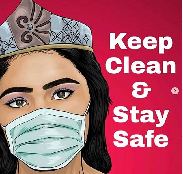 Fono posted a cartoon mock-up of her wearing a face mask with the caption: 'Keep clean and stay safe'