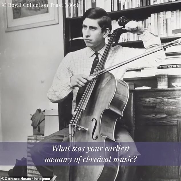 Prince Charles, who learned the cello (pictured) and the trumpet at residential school, spoke of the role music played in his life, previously listing favorites ranging from classical composers to 1930s dance groups and singer-songwriter Leonard Cohen.