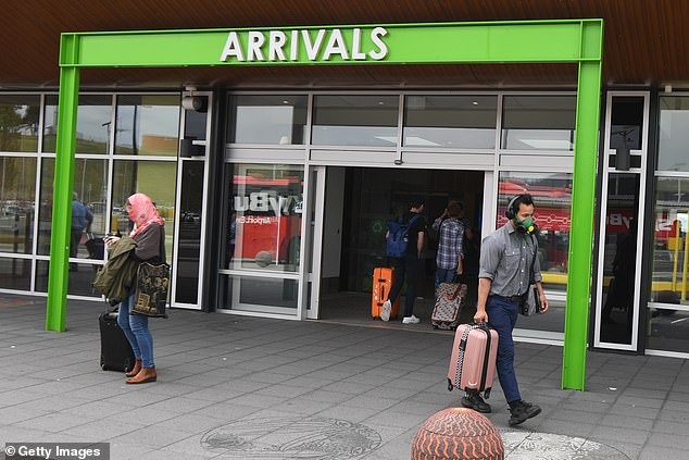 Some restrictions have eased in Tasmania. Returning Tasmanians can to isolate at home for 14 days while others have to quarantine at a hotel. Pictured: Hobart Airport, March 19