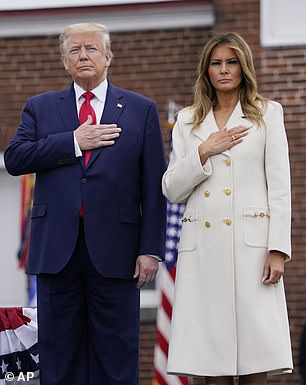 President Donald Trump and First Lady Melania Trump in Baltimore on Monday