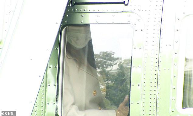 Melania Trump was spotted wearing a face mask while traveling on Marine One Monday