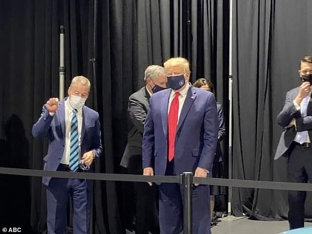 President Trump has not worn a mask in public but was captured with one while backstage during a tour of a Ford Motor plant in Detroit last week