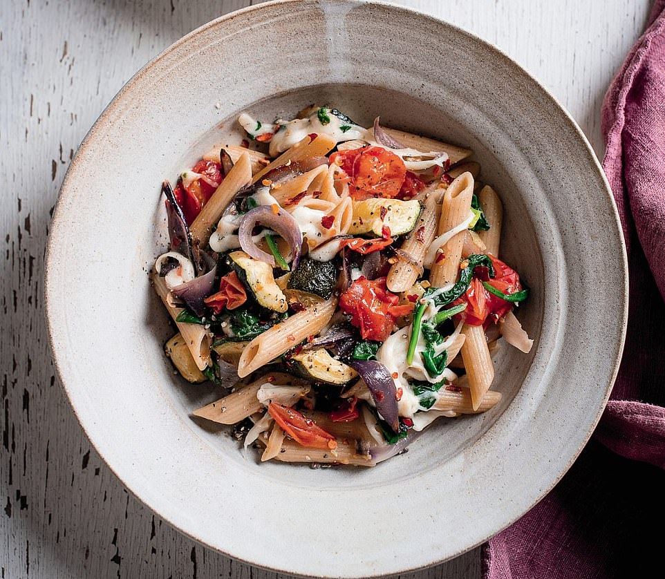 This delicious roasted vegetable pasta is a satisfying lunchtime meal that can be garnished with spinach