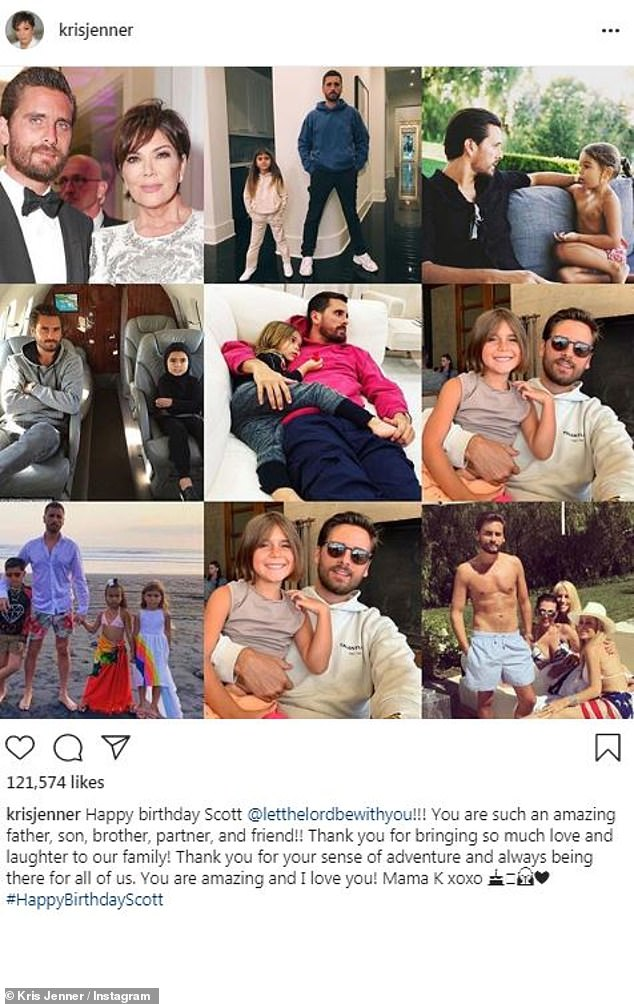 All love: Kris shared a montage of images for the birthday boy