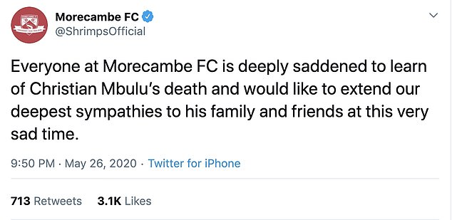 League Two Morecambe revealed the news on social media and were inundated with tributes