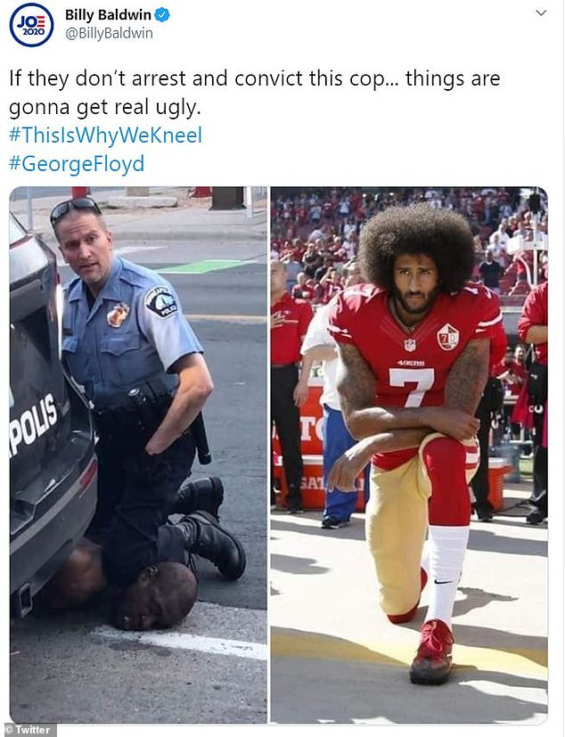 Contrast: Actor Billy Baldwin posted a side by side shot of the officer with his knee and NFL's Colin Kaepernick with the hashtag #ThisIsWhyWeKneel