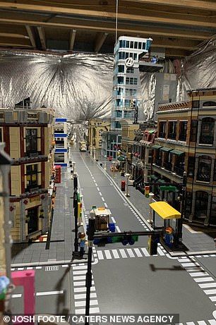 A street in the Lego city just above street level