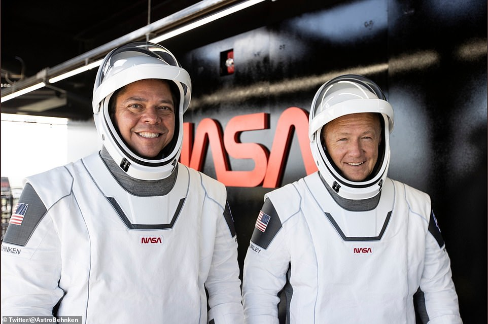 Behnken, 49, (left) and Hurley, 53, are former USAF pilots who both achieved the rank of colonel and they were accepted to the NASA astronaut class of 2020. Both have been to space twice, before NASA's space shuttle was retired in 2011.