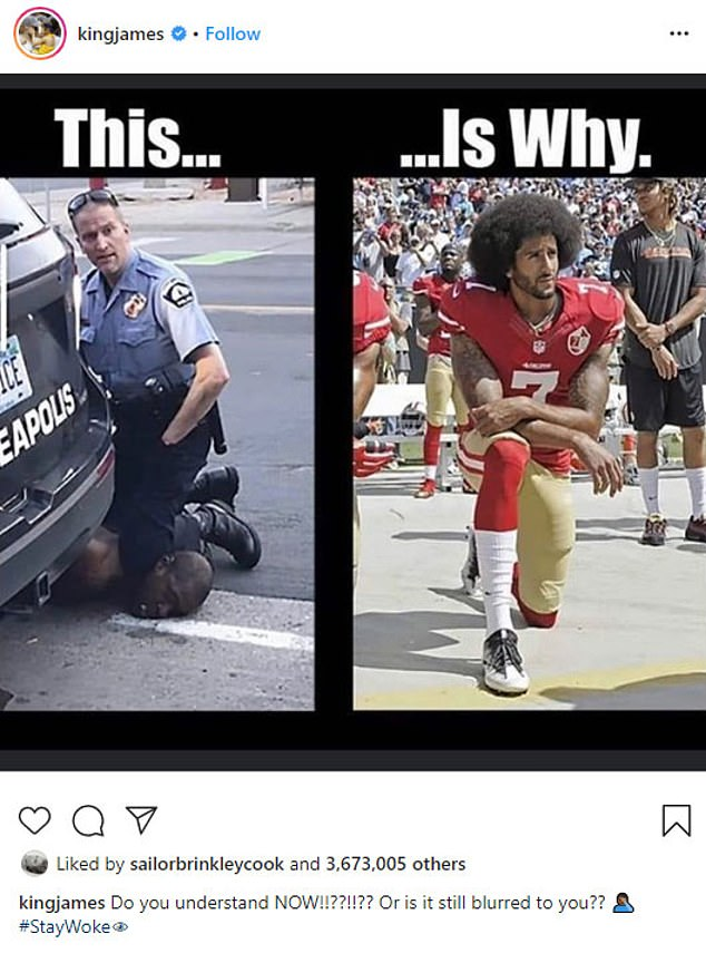 'Do you understand now !! ?? !! ?? ': LeBron James shared an Instagram collage that showed a photo of Floyd with his knee on his neck next to Colin Kaepernick taking a knee
