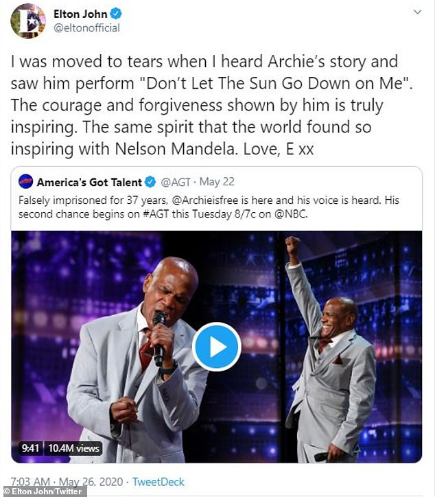 Touched: Elton John tweeted that he was `` moved to tears '' when he heard the story of Williams and saw his performance