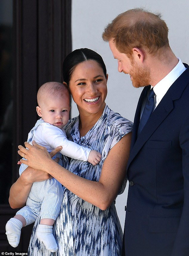 Harry, Meghan and their baby Archie during their royal tour of South Africa in 2019