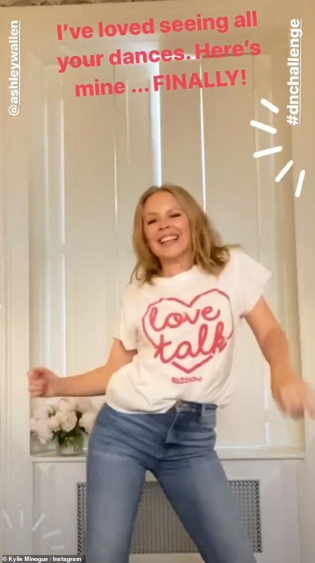 Fun: the singer also felt nostalgic for some of her biggest hits by going to Instagram Stories to share a video of her dancing on Spinning Around