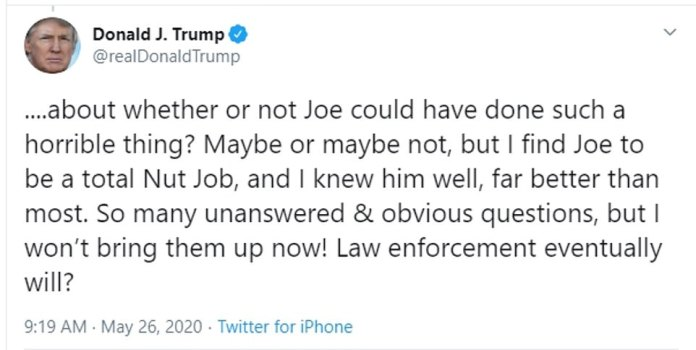 President Trump continued to tweet about LoriKlausutis' death on Tuesday, again suggesting that Joe Scarborough may have been behind her death