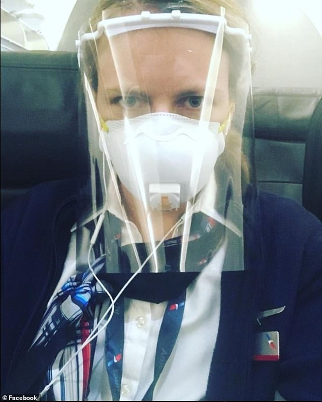 The 33-year-old flight attendant, who lives in Worchester, Massachusetts, had been wearing the $8 plastic face shield on a few flights since returning to work on May 2