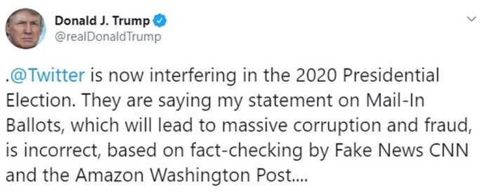 Trump accused on Tuesday night that Twitter is interfering in the 2020 presidential election by fact-checking his tweets and flagging it with disclaimers