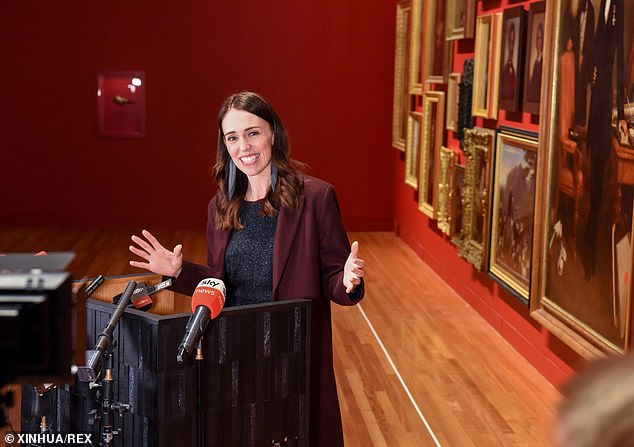 New Zealand has just one active case of COVID-19, after strict measures were introduced to stamp out the deadly virus. Pictured: Prime Minister Jacinda Ardern at the National Museum in Wellington