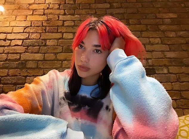 Stylish: Dua Lipa was again showcasing her funky new do as she took to Instagram on Thursday evening to share a sizzling selfie