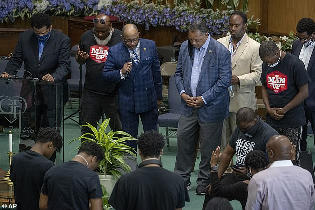 Mr Jackson, 78, yesterday travelled to Minneapolis to speak about the death of Floyd, 46, ahead of the third consecutive night of protests. Pictured: Mr Jackson at Greater Friendship Missionary Baptist Church yesterday