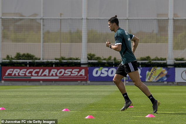 Back in his natural habitat: the handsome guy returned to training with the Juventus Football Club in Italy last month