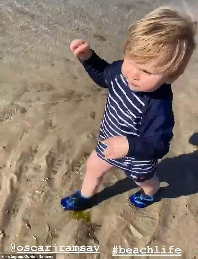 Hilarious: Gordon Ramsay, 53, shared a hilarious video of a walk on the beach with his youngest son Oscar, 13 months, Saturday