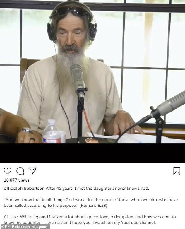 Bombshell: Duck Dynasty star Robertson revealed he has a girl from an extramarital affair on his podcast Thursday