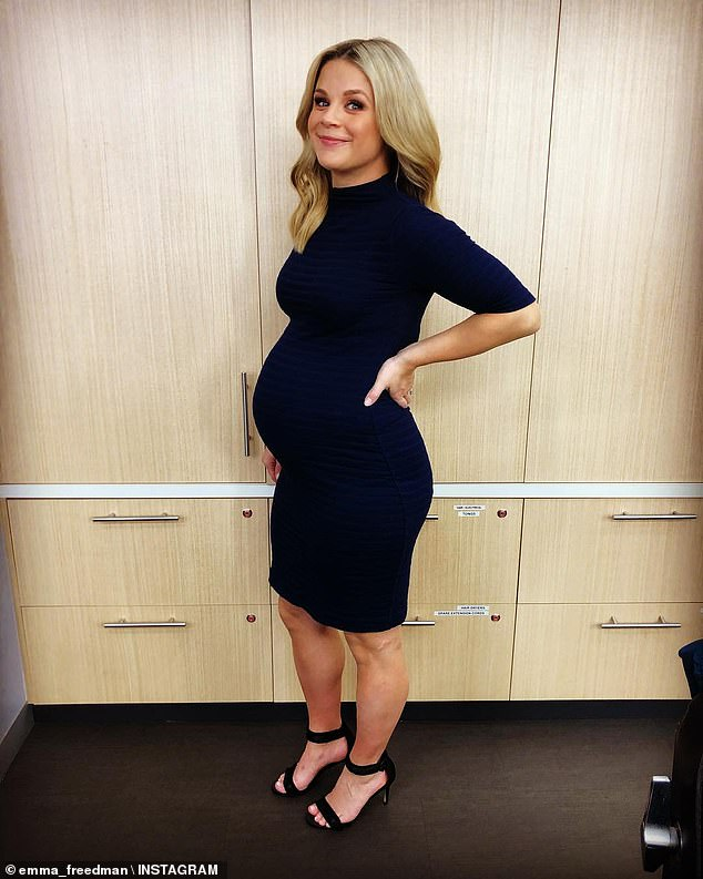 Cause to celebrate! Emma Freedman (pictured) gushed over husband Charlie Rundle as they celebrate their second wedding anniversary on Tuesday... after revealing they are expecting second child