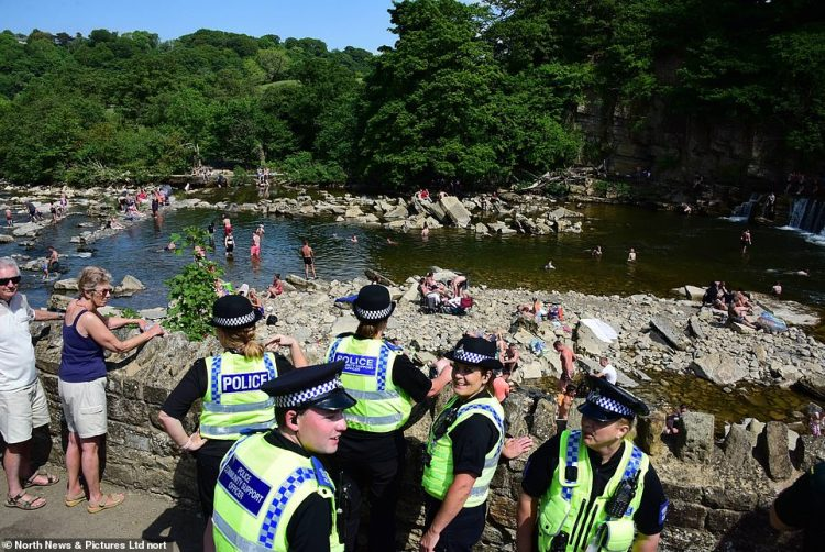 A large number of police officers were seen patrollingRichmond Falls in North Yorkshire to ensure visitors maintained social distancing rules