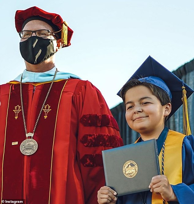 Fullerton College President, Greg Schulz, presented Jack with his four degrees at his home