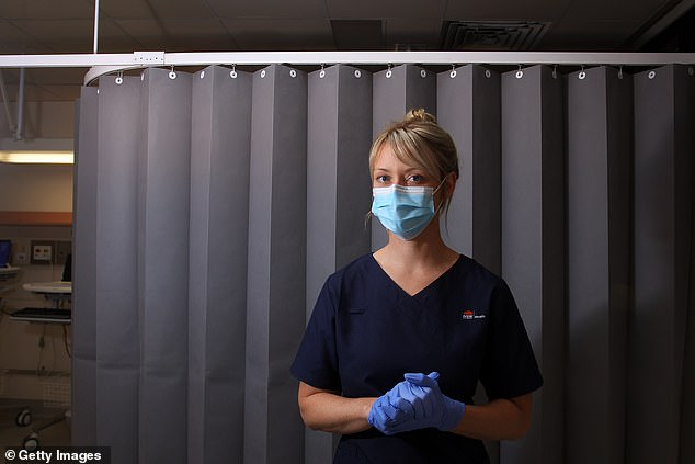 A nurse wears PPE in St George Hospital in Sydney. Nurses, labourers and electricians are some of the jobs currently thriving on the Australian market as the country reopens after the COVID-19 pandemic