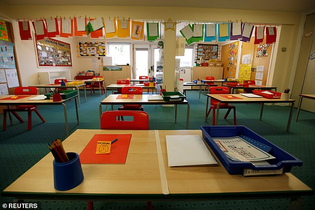 Pupils will begin returning to classrooms across England today, at Heath Mount Prep School in Watton-at-Stone, desks have been moved further to maintain social distancing rules
