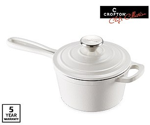 Aldi's cast iron saucepan with an enamel finish that has the capacity to hold 1.5 litres