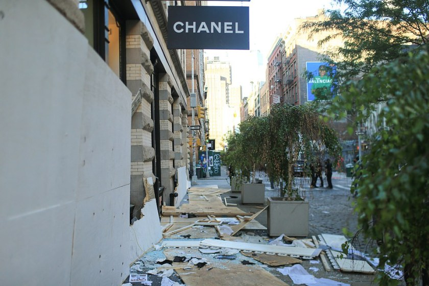 Chanel in Soho on Monday morning after looters smashed windows to ransack luxury stores in another night of chaos