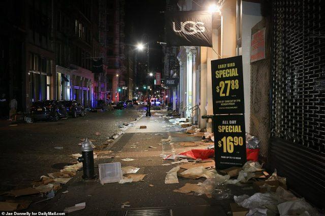 Mercer Street in New York City on Sunday night