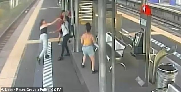 A 14-year-old schoolgirl has been charged with robbery in company after she allegedly attacked a 23-year-old woman at a Brisbane train station alongside three friends (pictured)
