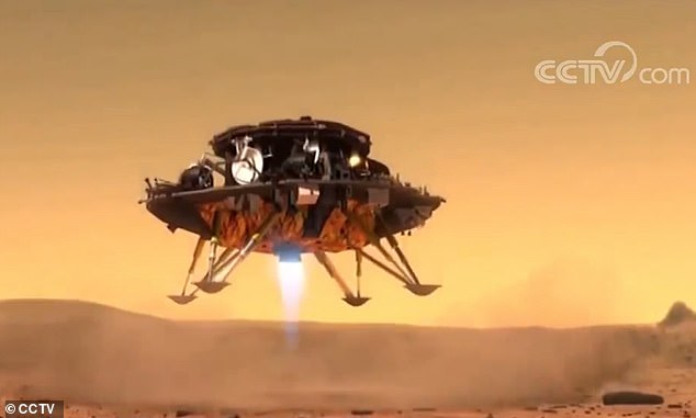 The Chinese Tianwen-1 spacecraft was carried by a Long March-5 rocket and is expected to reach the red planet in February. This artist impression shows a possible landing